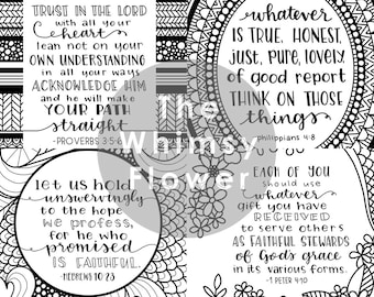 4 Bible Verses- Colouring Pages (Instant Download PDF)