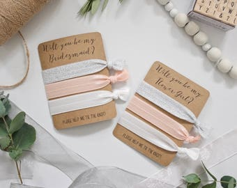 Will You be My Bridesmaid Flower Girl? - Set of 3 Hair Ties - Silver Sparkle, Pinky-Peach Blush, White - Wedding Favour Bridesmaid Proposal