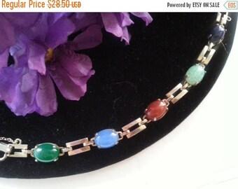 ON SALE Glass Stone Bracelet, 1960's 1970's Vintage Jewelry, Colorful Vintage Bracelet