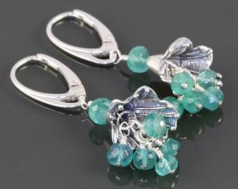 Genuine Emerald Earrings. Sterling Silver Flowers. Lever Back Ear Wires. May Birthstone. Cluster Earrings. s17e052