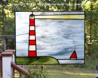 Assateague Lighthouse with Sailboat Stained Glass Panel, Nautical Decor, Beach Decor, Coastal Decor, Lighthouse Decor, Glass Art, Gift