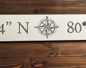 Latitude and Longitude Wood Sign, Nautical Coordinates Wood Sign, Handpainted Longitude and Latitude Sign, Nautical Handpainted Wood Sign