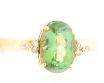 Solid 14K Yellow Gold Genuine Green Tourmaline & Natural Diamond Ring Size 8.25!