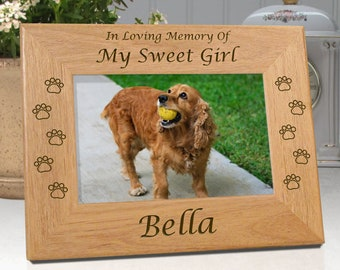 FREE SHIPPING - Personalized Pet Frame - In Loving Memory Of My Sweet Girl or Our Sweet Girl - Free Sympathy Card - Fast Ship
