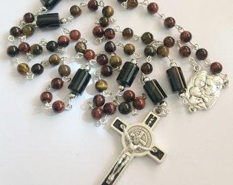 Black Brown Rosary, Black Onyx Rosary, Catholic Traditional 5 Decade Rosary, Gift for Him, Birthdays, Anniversaries