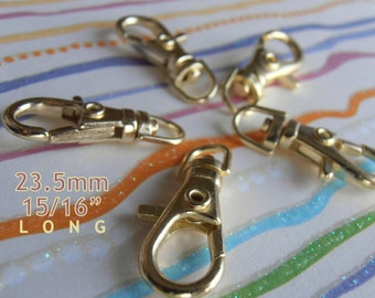 100 Pieces 23.5mm / 1 inch Lobster Swivel Clasps (Choose Your Finish: Nickel, Antique Brass and Gold Color)