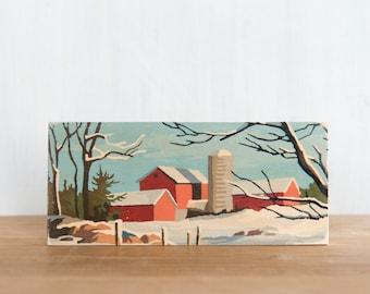 Paint by Number Art Block 'Red Barn Landscape'- vintage winter landscape, farm, rural