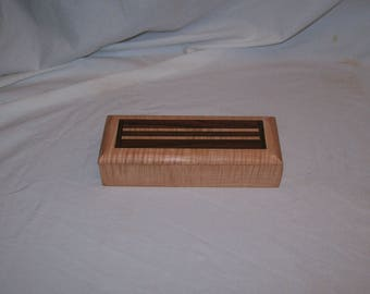 Handcrafted works of Art with a functional flair. Wooden trinket or keepsake box. 8 1/4 x 3 1/4 x2