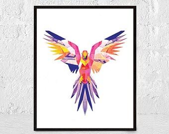 Parrot Print, Parrot Wall Art, Macaw Print, Parrot Printable, Tropical Bird Print, Bird Wall Art, Colorful Art, Tropical Art,animal wall art