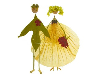 Bride & groom - Wedding, engagement, love, anniversary, bridal shower - Garden notecard, Hydrangea, verbena, rose mallow, crabapple blossoms