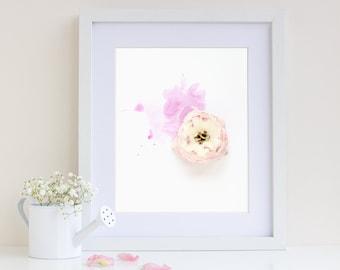 Pretty Pink Watercolour Flower, Ranunculus, White Flower Art, Flower Print Wall Art, Gift for Her, Botanical Art Print, Giclee Art Print