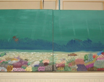 Coral Reef Painting  Tropical Art 2 part painting coral reef painting modern art