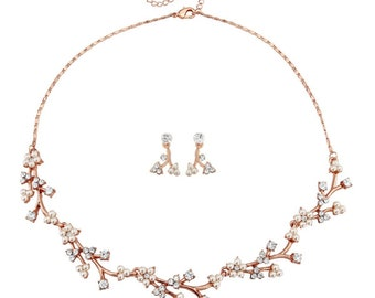 Rose gold necklace, gift for her, rose gold necklace set, rose gold pearl set, rosegold necklace set, bridal jewellery set, bridesmaids gift