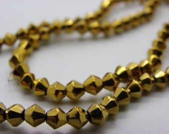 72 beads 4 mm bicones way gold plated Crystal nacklace