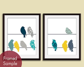 Vintage Pattern Birds on a Wire (A) - Set of 2 - Art Prints (Featured in Assorted Colors) Vintage Modern Decor