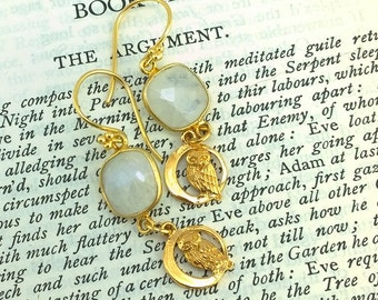 Majestic Owl and Moon Earring with rainbow moonstone