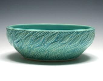 Turquoise Pottery Bowl, Leaf Design, Shallow Bowl, Turquoise Bowl, Home Decor, Blue, Aqua, Handmade Pottery