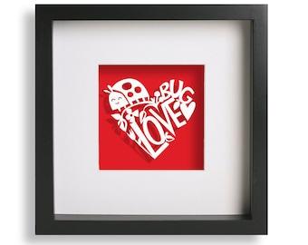 Framed Hand Cut Love Bug Papercut