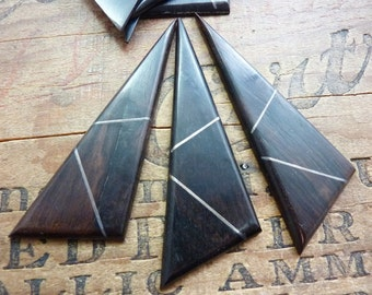 Vintage Ebony Wood Inlaid Silver Pendant with no hole (1)