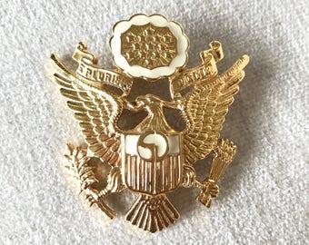 SALE Eagle shield  crest brooch