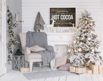 "MORE COLORS & SIZES 34x26 ""Hot Cocoa"" / christmas / hand painted / wood sign / farmhouse style / rustic"