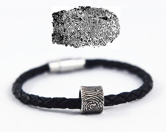 Fingerprint Bracelet, Fingerprint Jewelry - Silver Fingerprint Bead using an ink print - Memorial fingerprint jewelry