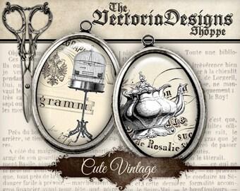Cute Vintage Ovals - 40 x 30mm / 25 x 18mm / 18 x 13mm - VDOVVI0078