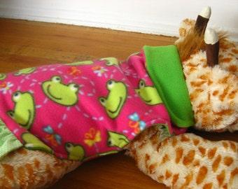 Dog Coat-Green Frogs, Happy Froggy Doggy Reversible Fleece Jacket, Chartreuse Rosy Pink Fleece Doggy Jacket, Reversible Fleece Doggy Jacket