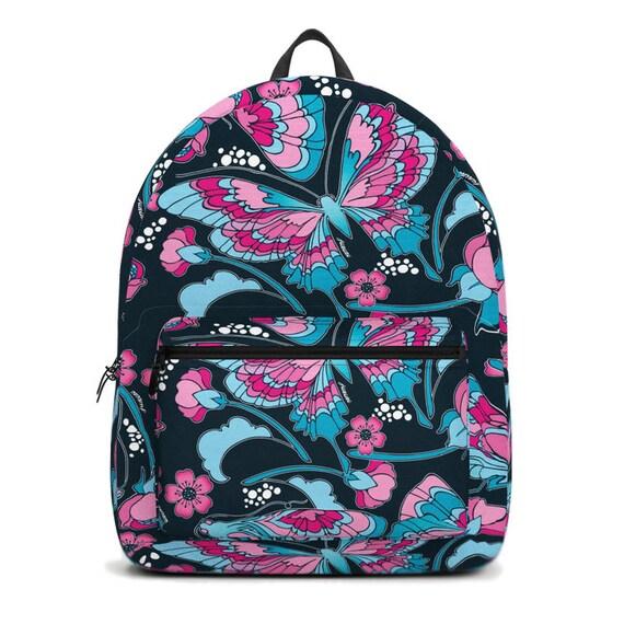 Butterflies in Navy Backpack