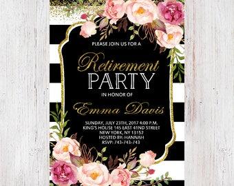 Floral Retirement Invitation Printable,Retirement Party Invitation,Retirement Invitation,Retirement Party Printable,Bright Floral Invitation