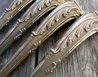 "Antique 12.6"" (32cm) set of 4 brass ornate table legs, Antique solid brass table legs, Table hardware, Brass table legs, Console table legs"