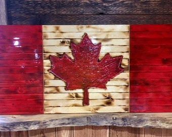 Rustic Canadian Flag, Hand Carved Wooden