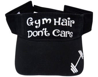 "NEW! White Glitter ""Gym Hair Don't Care"" Black Cotton Visor Fitness"