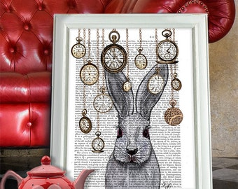 Alice in Wonderland Print Alice in wonderland decor White rabbit print rabbit gift wall art home decor rabbit time digital print illustation