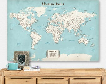 Custom world map etsy custom world map globe cool push pin map travel decor unique pinboard christmas gift for husband gumiabroncs Choice Image