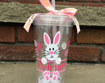 Easter Bunny Tumbler, personalized easter Gift,Easter Basket, kid's  Tumbler, kids gift, kid's Cup, Monogram Gift, Gift, easter present kids