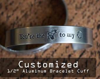"Custom Personalized 1/2"" Aluminum Bracelet Cuff - Hand Stamped"