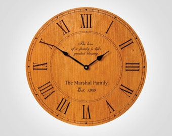 Custom Engraved Clock - Personalized Wood Clock - Wedding Gift - Parent Gift - Family Clock - Mother's Day Present - Birthday Present