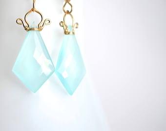 Celine - Aqua Chalcedony 14k GF Earrings    Chalcedony Dangles    14k Gold Filled Geometric Earrings
