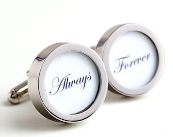 Always and Forever Wedding Cufflinks for Grooms and Someone Special PC233