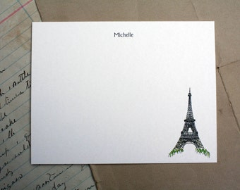 NEW! Paris Eiffel Tower France French Custom Notecard Stationery. Thank You, Any Occasion, Personalize Watercolor Print, Set of 10.