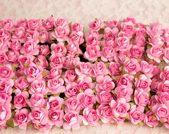 144 Paper Roses / Pink / 12 Dozen Artificial Flowers / 14 mm / Bridal / Scrapbooking / Wedding Favors / Millinery / Baby Shower
