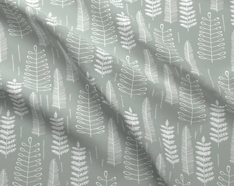 Mod Fern Fabric by the yard - Ferns-Dustyblue By Papercanoedesign - Fern Modern Cotton Fabric By The Yard With Spoonflower