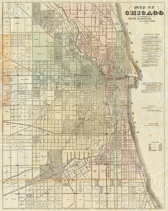 Vintage Map of Chicago 1857 Chicago Illinois map Antique Restoration Decor Map Old Style Downtown Chicago Map Perfect housewarming gift