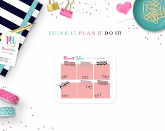 Planner Stickers Sticky Note PINK Geek Chic -Perfect for Erin Condren, Happy Planner, Filofax, Plum Planner, Kikki K, scrapbooking and more!