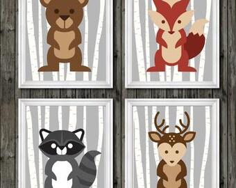 Woodland nursery decor, boys nursery decor, woodland animals, boys woodland nursery, bear, fox, raccoon, deer, boys wall art, woodland art