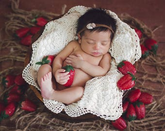 Organic Strawberry Newborn Digital Backdrop