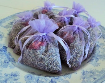 5 LAVENDER ROSE SACHETS, Spa Favor, Aromatherapy, Ecofriendly Favor, Baby Shower, Bridal Shower, Home Fragrance