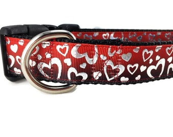 Valentine Dog Collar, Black Red Hearts, 1 inch wide, adjustable, quick release, metal buckle, chain, martingale, hybrid, nylon