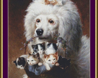 The Poodle's Friends - Counted Cross Stitch Pattern